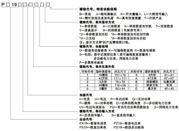 PD194E系列多功能数显表型号定义