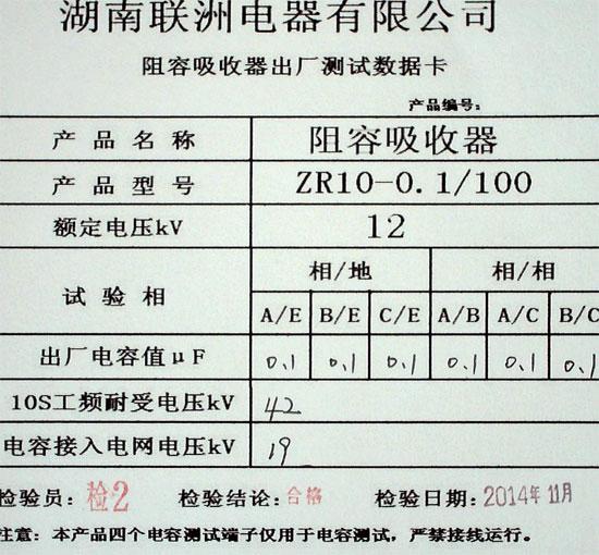 阻容吸收器出厂检测报告
